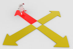 3d rabbit choose red path from four different paths concept Stock Images