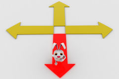 3d rabbit choose red path from four different paths concept Royalty Free Stock Image