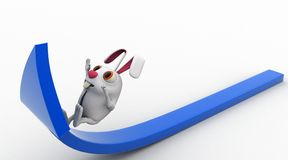 3d rabbit climb blue up arrow concept Royalty Free Stock Images