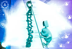 3d rabbit climb carrers text with ladder illustration Stock Images