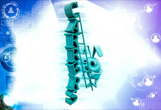 3d rabbit climb carrers text with ladder illustration Royalty Free Stock Image