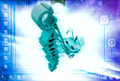 3d rabbit climb carrers text with ladder illustration Stock Photography
