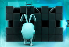 3d rabbit climb ladder to find goods illustration Royalty Free Stock Photos