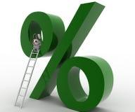 3d rabbit climb percentage symbol using ladder concept Stock Photos