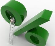 3d rabbit climb percentage symbol using ladder concept Royalty Free Stock Photography
