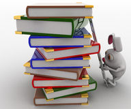 3d rabbit climb pile of books with help of ladder concept Stock Photos