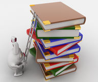 3d rabbit climb pile of books with help of ladder concept Stock Images