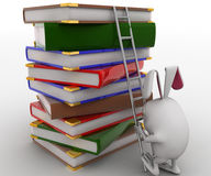 3d rabbit climb pile of books with help of ladder concept Royalty Free Stock Images