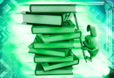 3d rabbit climb pile of books with help of ladder illustration Royalty Free Stock Images