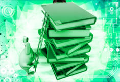 3d rabbit climb pile of books with help of ladder illustration Stock Images