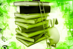 3d rabbit climb pile of books with help of ladder illustration Royalty Free Stock Image