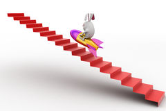 3d rabbit climb stairs on ladder concept Royalty Free Stock Images