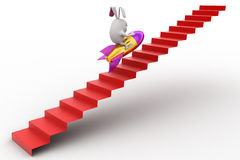 3d rabbit climb stairs on ladder concept Stock Image
