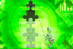 3d rabbit climb tall contruction of puzzle pieces illustration Royalty Free Stock Photos
