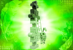3d rabbit climb tall contruction of puzzle pieces illustration Stock Photos