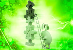 3d rabbit climb tall contruction of puzzle pieces illustration Royalty Free Stock Photography