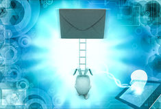 3d rabbit climb to mail on ladder concept Royalty Free Stock Photos