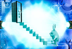 3d rabbit climb to stair to question mark door illustration Royalty Free Stock Image