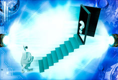 3d rabbit climb to stair to question mark door illustration Stock Images