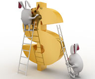 3d rabbit climbing dollar sign with ladder concept Stock Images
