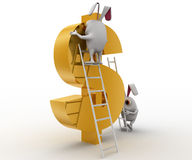 3d rabbit climbing dollar sign with ladder concept Royalty Free Stock Photography