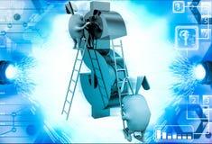 3d rabbit climbing dollar sign with ladder illustration Stock Photography