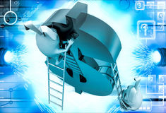 3d rabbit climbing dollar sign with ladder illustration Stock Images