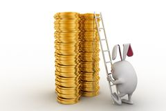 3d rabbit climbing on gold dollar coin stack with ladder concept Royalty Free Stock Photography
