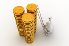 3d rabbit climbing on gold dollar coin stack with ladder concept Stock Photo