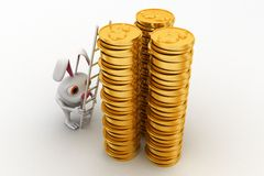3d rabbit climbing on gold dollar coin stack with ladder concept Royalty Free Stock Image