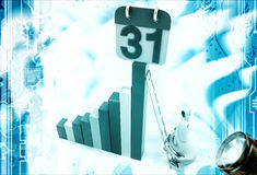 3d rabbit climbing progress chart with 31 digit on top illustration Royalty Free Stock Images