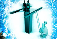3d rabbit climbing on roof top by ladder for money bags illustration Stock Image