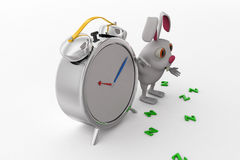 3d rabbit with clock concept Royalty Free Stock Images