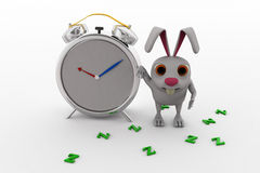 3d rabbit with clock concept Stock Images