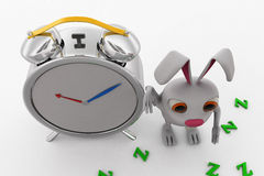 3d rabbit with clock concept Royalty Free Stock Photos