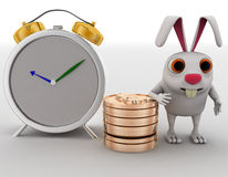 3d rabbit with coins and alarm clock concept Royalty Free Stock Image