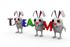 3d rabbit with colorful TEAM font concept Stock Photo