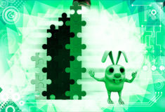 3d rabbit with colourful arranged puzzles illustration Stock Photography