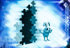 3d rabbit with colourful arranged puzzles illustration Royalty Free Stock Photography