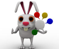 3d rabbit with colourful chat bubbles concept Stock Image