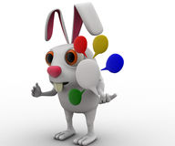 3d rabbit with colourful chat bubbles concept Royalty Free Stock Image