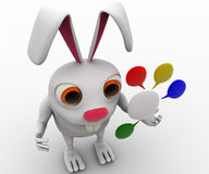3d rabbit with colourful chat bubbles concept Stock Photography