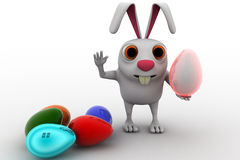 3d rabbit with colourful eggs concept Royalty Free Stock Image