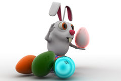 3d rabbit with colourful eggs concept Stock Image