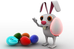 3d rabbit with colourful eggs concept Stock Photo