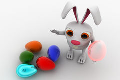3d rabbit with colourful eggs concept Royalty Free Stock Photos