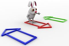 3d rabbit with colourful house selection concept Stock Photography