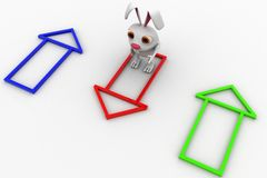 3d rabbit with colourful house selection concept Royalty Free Stock Photos