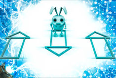 3d rabbit with colourful house selection illustration Stock Images