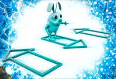 3d rabbit with colourful house selection illustration Stock Image